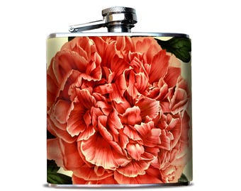 Flask for Women, Peony Flower pattern, Hip flask for her, Give for boozy mama, Mommy needs a drink, Unique liquor flask