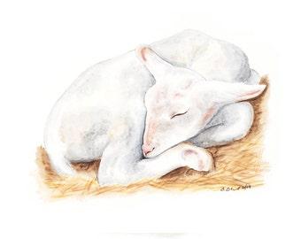 Baby Animal Watercolor, Lamb Nursery Art, Farm Animal, Baby Lamb, Lamb Nursery, Baby Lamb, Baby Room Decor, Farm Nursery, Baby Animal