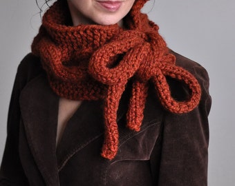 Hand knit chunky designer cable neckwarmer scarf cowl collar wrap neckwear with huge bow tie - Twist Me Around in spice or CHOOSE YOUR COLOR