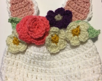 Wildflower rabbit hat crochet pattern