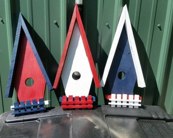 The Patriotic Bird House, hand crafted from reclaimed Michigan lumber (BH002)