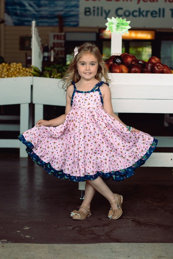 Girls Strawberry Dress - Strawberry Festival Dress - Strawberry Twirl Dress - Summer Twirl Dress