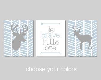 DEER Nursery Decor TRIBAL Boy Nursery Art Trio - Be Brave Little One Quote ARROWS, Herringbone Deer - Set of Three - Choose Your Colors