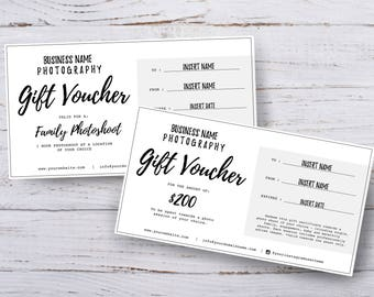 Photography gift voucher certificate template PSD for photoshop x 2