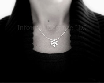 Sterling Silver Snowflake Pendant with Sterling Silver Chain