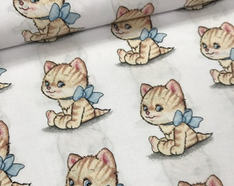 Kitten with bow Cotton fabric,half meter width1.6 meters,bedding fabric,quilting cotton,patchwork fabric-0.5 / meter
