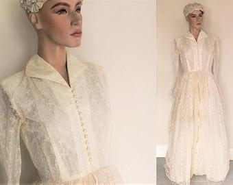 1960s vintage wedding dress scallop lace // vintage bridal dress