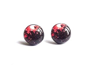 Red And Black Galaxy Stud Earrings Red Valentine's Day Stud Earrings Galaxy Studs Nebula Earrings Space Jewelry Gift For Her