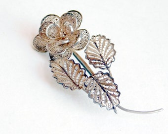 Vintage Cannetille Spun Sterling Silver Filigree Flower Brooch - Mid-Century Wire Work Pin - Intricate Floral Brooch - Silver Lace - 1940s