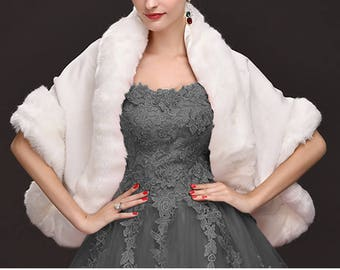 Shawl stole in cashmere and fur - cape with beautiful fabric had white cashmere luxury faux fur Fox bridal party