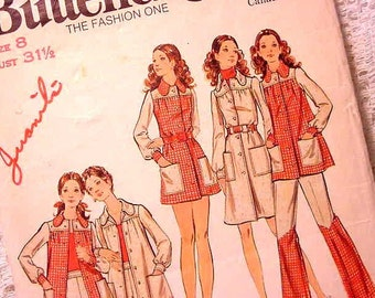 Vintage 70s Butterick 6548 Sewing Pattern Mini Dress, Smock Top, Pants, Shorts Size 8
