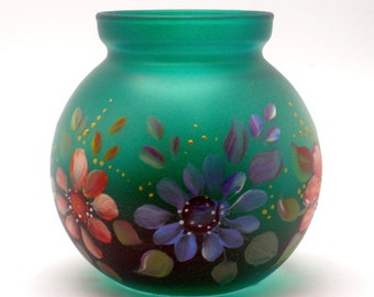 Hand Painted Glass Vase or Votive OOAK Colorful Daisies
