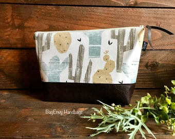 Cactus in Desert Sand with Vegan Leather - Large Make Up Bag / Diaper Clutch / Bridesmaid Gift