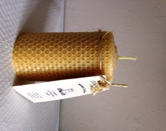Beeswax Pillar Candle 100% Pure Hand Rolled by Down the Lane Farm Natural Air Purifier Honey Scent with Candle Care Card