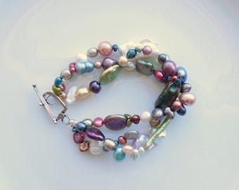 Perlen Collier oder Armband Süßwasser Perle Multi Color Form Aktionsbereich 3 drei Strang Sterling Silber Herbst Hochzeit Schmuck