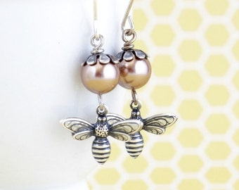 Mothers Day Gift - Bee Earrings - Pale Bronze Pearl Earrings - Bumble Bee -  Bee Dangle Earrings - Bee Jewelry - gift For Woman