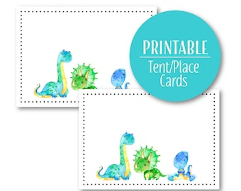 Dinosaur Tent Cards | Party Buffet cards | Printable Place Cards  Blue and Green, Birthday Decor  1060
