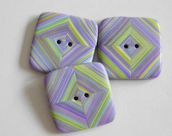 Purple and Green 24 mm square polymer clay sewing buttons