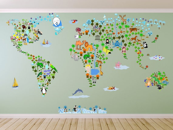 Cultural world map wall decal reusable vinyl fabric cultural world map wall decal reusable vinyl fabric repositionable decal nursery room decals clear decals educational decals gumiabroncs Gallery