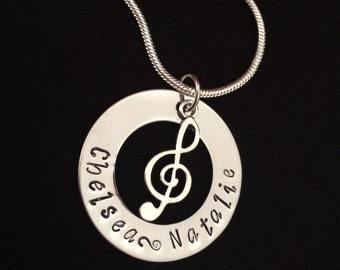 Treble Cliff Music Note Necklace Personalised Hand Stamped