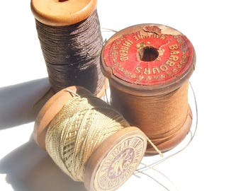 Thread / Vintage Group of Wooden Spools of Thread / Super Early Round Rolls / Assortment of 3 / American  / Barbours Machine Thread Co.