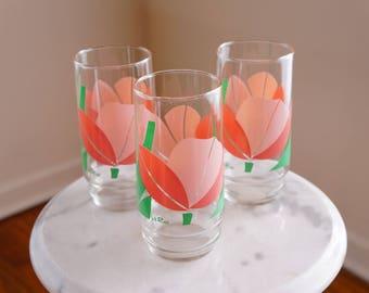 Cheerful Water Glasses by La Rue -- Delightful Tumblers with Pink Tulip Designs -- Cool Retro Glassware