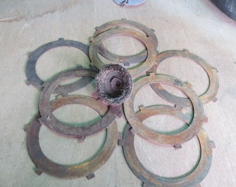 Round Clutch Plates Steel Rusty Industrial Salvaged Metal art Garage decor Rusty Findings