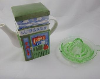 Vintage Tea Pot and Green Glass Juicer