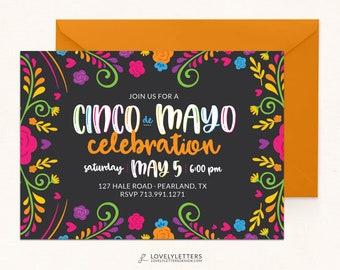 Cinco de Mayo Invitation / DIGITAL / Fiesta Invitation / Cinco de Mayo Party / Cinco de Mayo Fiesta / Floral Cinco De Mayo / Floral Fiesta
