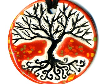 Tree ABove and Below Ceramic Necklace in Red