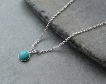 Dainty Turquoise Pendant, Sterling Silver Pendant, Turquoise Necklace, Round Turquoise Pendant, Turquoise Necklace, Minimalist Necklace