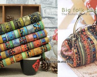 Bohemian Stripe Cotton Linen Fabric BOHO Bohemian Style Bag Cushion Fabric- 1/2 Yard