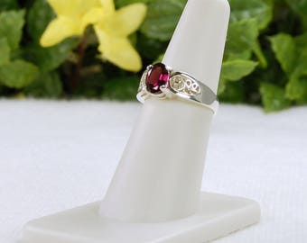 Garnet Ring, Size 6, Sterling Silver, January Birthstone, Rhodolite Garnet, Rich Purple Hues, Natural Garnet