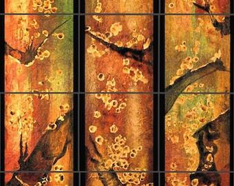 Asian Panels Custom Ceramic Tile Backsplash Mural