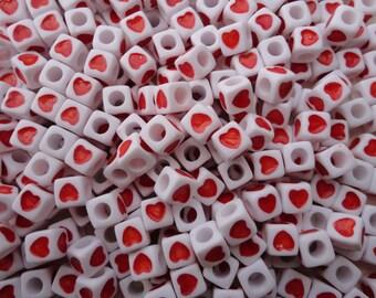 100pcs 7mm heart square beads,red heart bead with 3mm diameter hole--plastic heart bead--acrylic heart bead--BW17