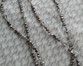 Extra long grey pearl and Crystal necklace - opera length