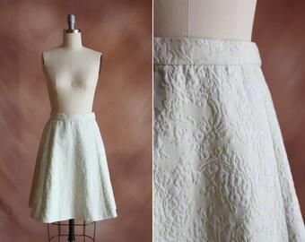 années 1960 pâle vert floral jacquard haut de la jupe une ligne cintrée taille xs