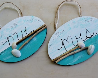 Beach Wedding Decoration , Mr & Mrs Signs , Chair Hangers , Coastal Reception Decor