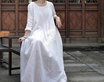 589---Hand Pintucked White Linen Floor-length Dress, Wedding Dress, Three Quaters Sleeves Maxi Dress, Spring / Summer Dress, Made to Order.