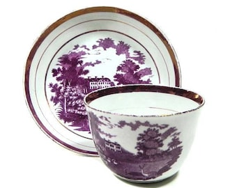 Antique Early 19th Century Staffordshire Pink Luster Transferware Cup and Saucer Deer