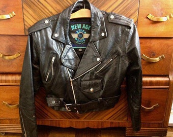 80s New Age Cropped Leather Jacket