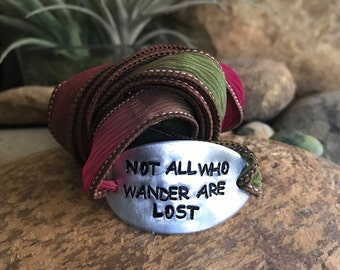 Not all who wander are lost silk wrap bracelet, world traveler, wanderlust, book quote, customized, quote jewelry, globe