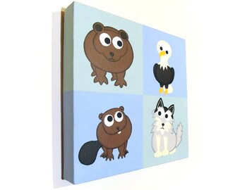 Cute forest animals acrylic painting - cartoon brown bear, bald eagle, beaver and wolf, original nursery art on blue and green squares