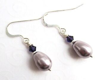 Teardrop Earrings, Mauve Purple Pearl Drop Earrings, Swarovski Faux Pearl Earrings, Simple Drop Earrings, Classic Earrings