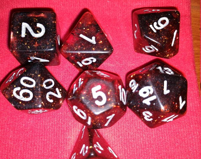 Magma Glitter - 7 Die Polyhedral Set with Pouch