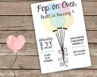 Balloon Birthday Invitation
