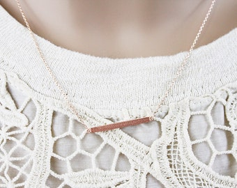 Tiny Bar Necklace . Dainty Bar Necklace Simple and Modern Necklace Bridesmaid Gift