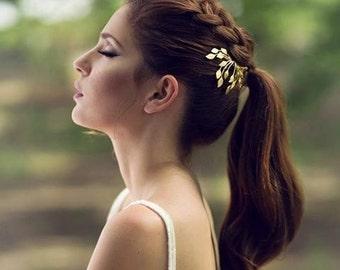 Ivy Comb, Bridal Hair Accessories, Bohemian Comb, Wedding Comb, Gold Leaves Comb, Bridesmaid Jewelry, Bridal Comb, Grecian Comb, Boho Chic