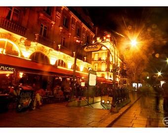 Metro Paris, Evenings in Paris, Photo Prints, Paris Photography, Fine Art Photography, France Photography, Metro Sign Paris Photos