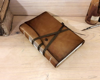 Rustic Leather Journal, antiqued brown leather